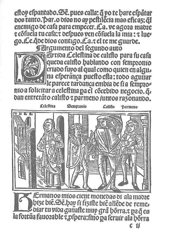 Grabado de la primera edición de La Celestina