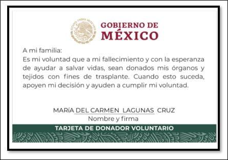 Tarjeta de donador voluntario en México