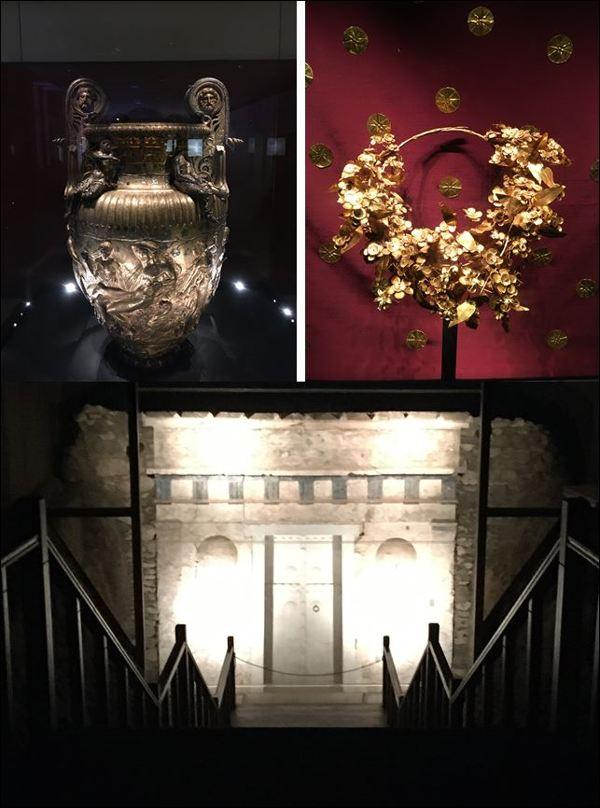 Museo de Vergina: vasija con relieves impresionantes – corona de oro – tumba real