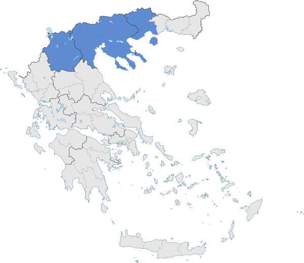 Mapa de Macedonia (azul) – a la izquierda está la provincia de Epiro y a la derecha Tracia