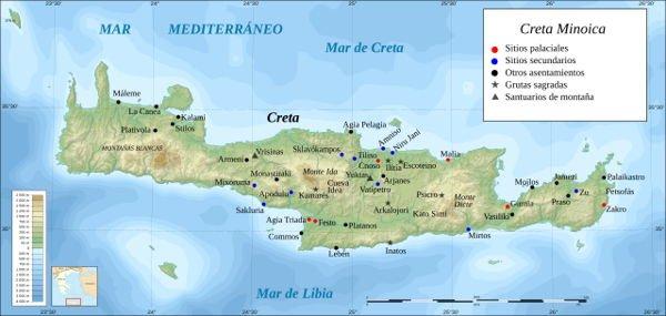 Mapa de la Creta minoica