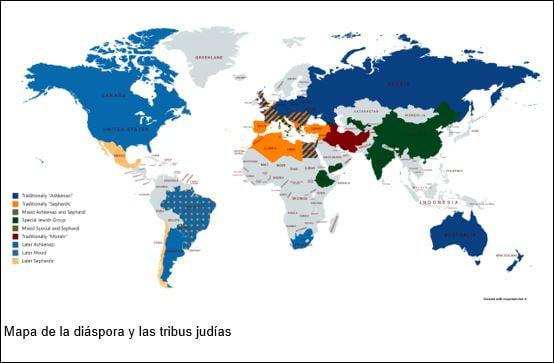 Mapa de la diáspora y las tribus judías