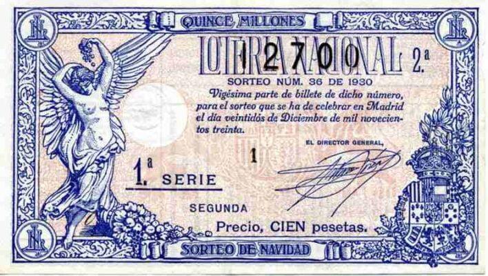Décimo Lotería de Navidad 1930