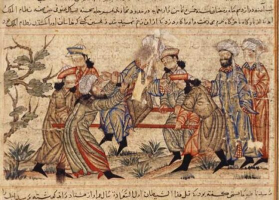 Nizam al-Mulk es asesinado_pintura islámica siglo XIV